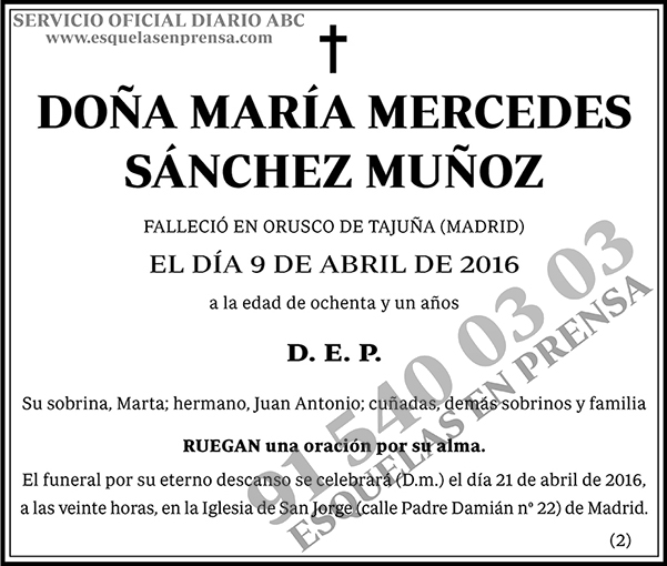 María Mercedes Sánchez Muñoz